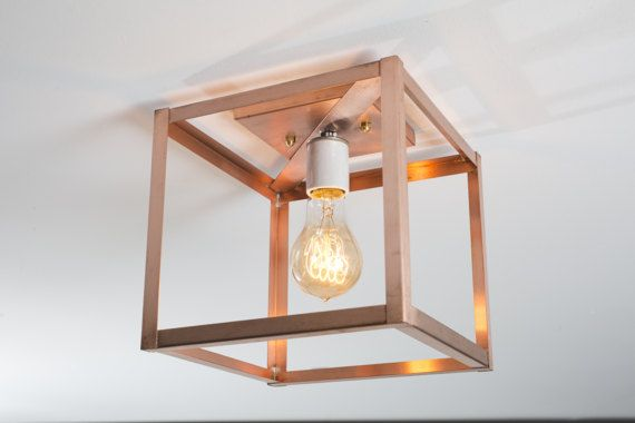 Flush Mount Ceiling Light Semi Flush Mount Light Copper Cage Lighting Cube Raw Copper O Copper Ceiling Lights Ceiling Lights Industrial Modern Lighting