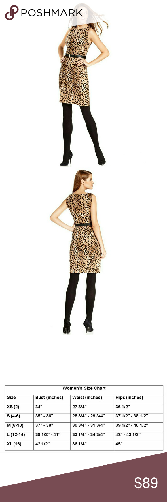 Calvin Klein Leopard Belted Sheath Dress NWT Calvin Klein emboldens this  classic sheath with 56e101745