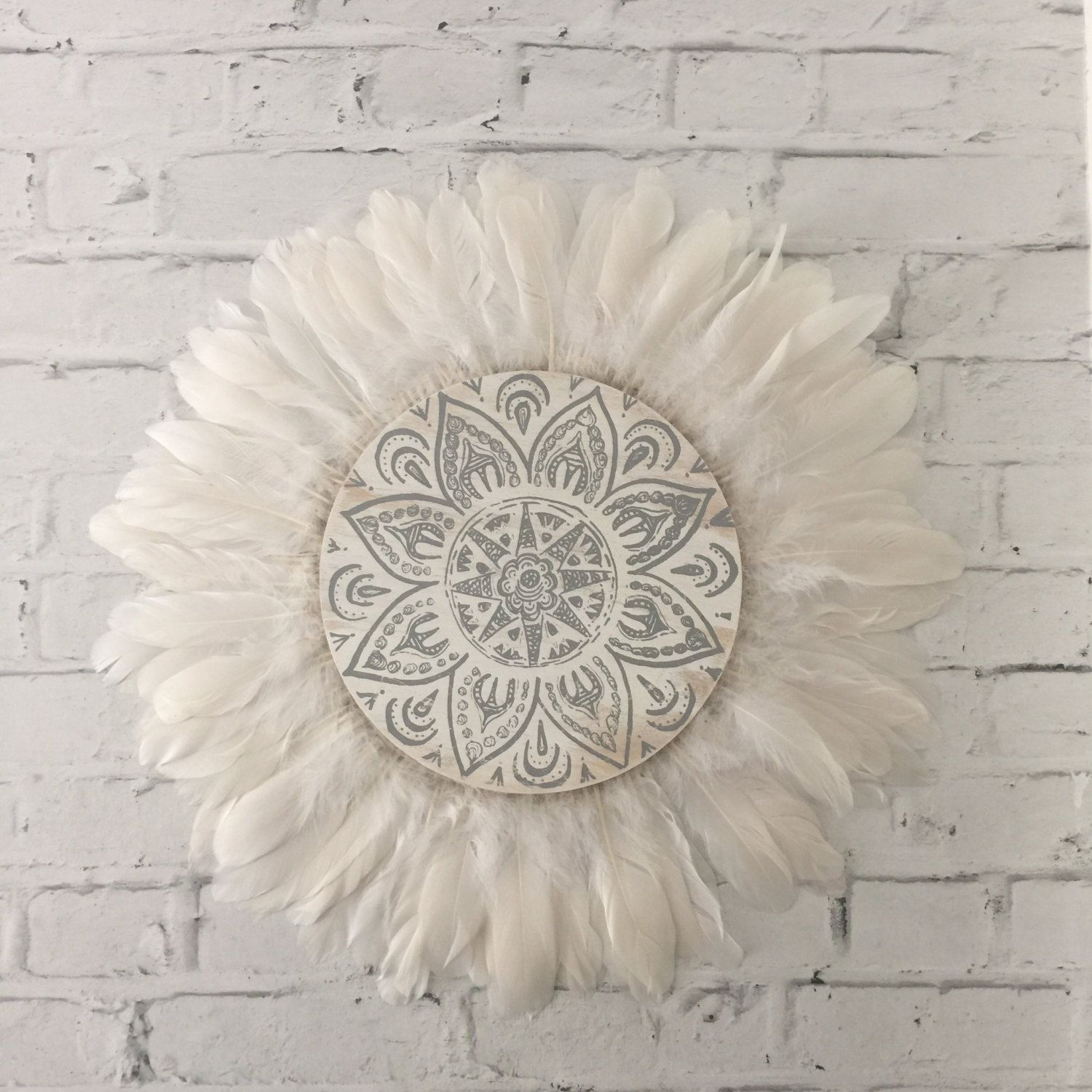 15b6cc5f55e Tribal Mandala White and Grey Feathers Round Wall Art