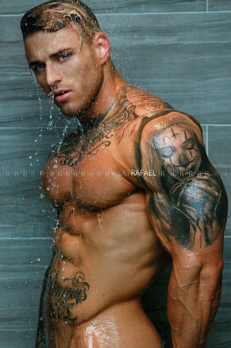 Blond With Tats Taking Shower