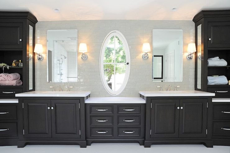 Black Amp White Bathroom Double Vanity W Drop Down Make Up