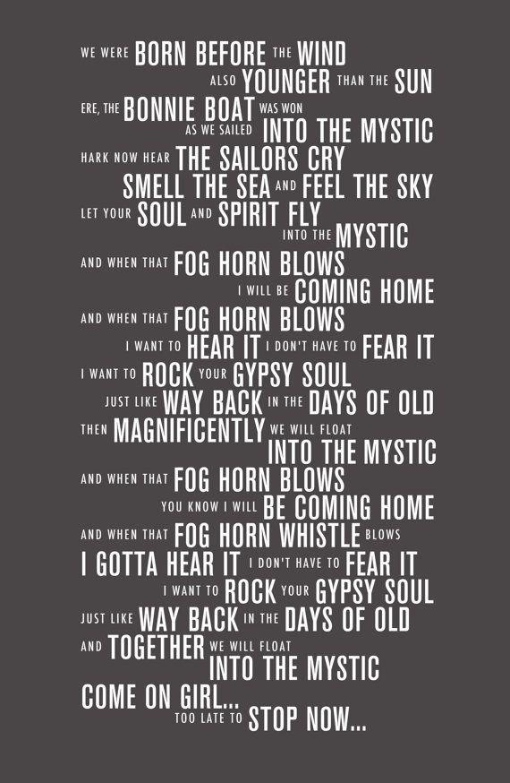 Into The Mystic Van Morrison Lyrics Typography Print Sir George