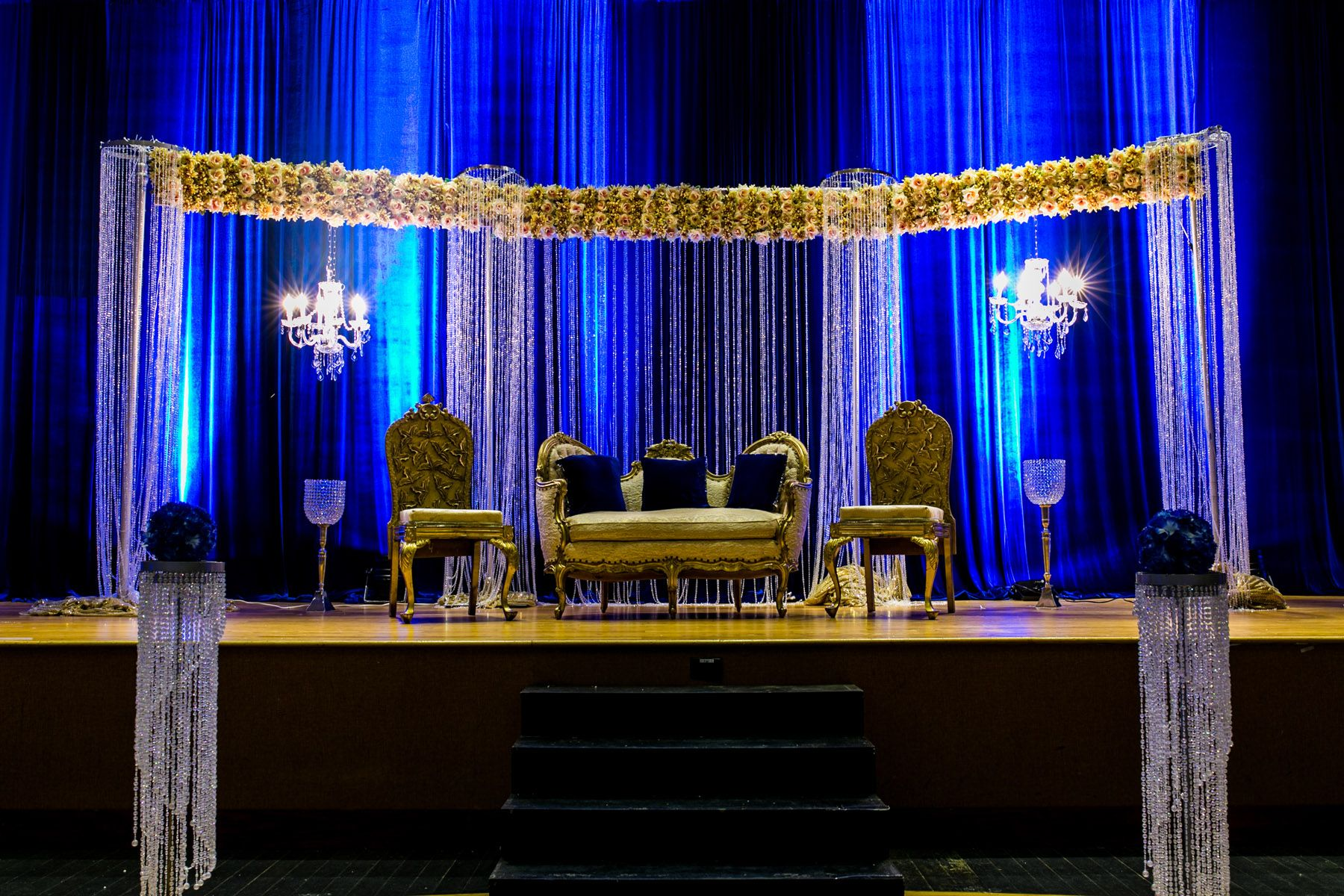 Blue And Gold Indian Wedding Stage Decor Wedding Photography And