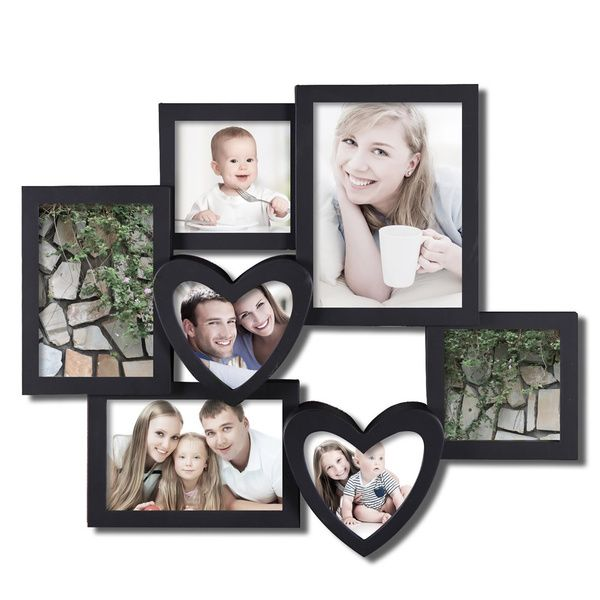 Adeco 7-opening Heart-shaped Black Hanging Collage Photo Frame ...
