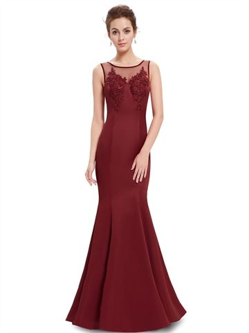 Elegant Mermaid Burgundy Open Back Lace Appliques Bridesmaid Dress with Sweep Train Cheap Prom Dress