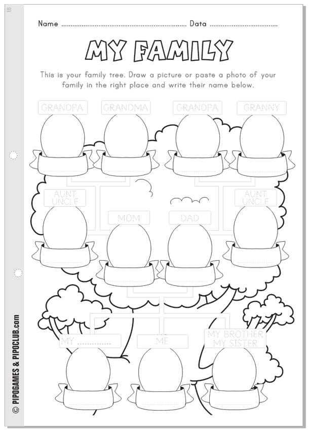 My family worksheet Preschool and Elementary Pipo – My Family Worksheets for Kindergarten