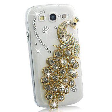 Poposh 1X 3D Bling Strass Kristall Hart Pfau Tasche Case Cover Peacock Klar Hülle Diamant Glitzer Schutzhülle für Samsung Galaxy S3 lll I930...