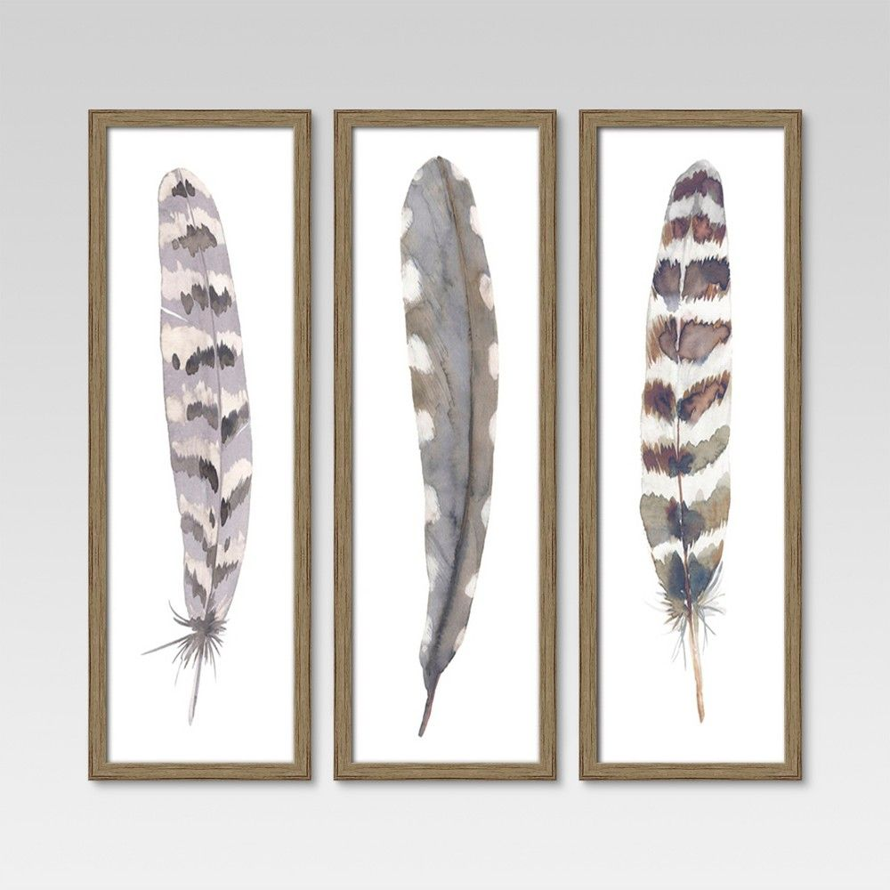 Update Your Space In Sweet Detail With The Framed Feathers From Threshold With Three Large Coordinating Framed Feather Wall Art Feather Art Watercolor Feather