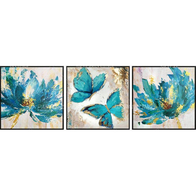 3 Pieces Butterfly Blue Art Acrylic Paintings On Canvas Gold Etsy Arte De Pared Arte Azul Cuadros De Arte