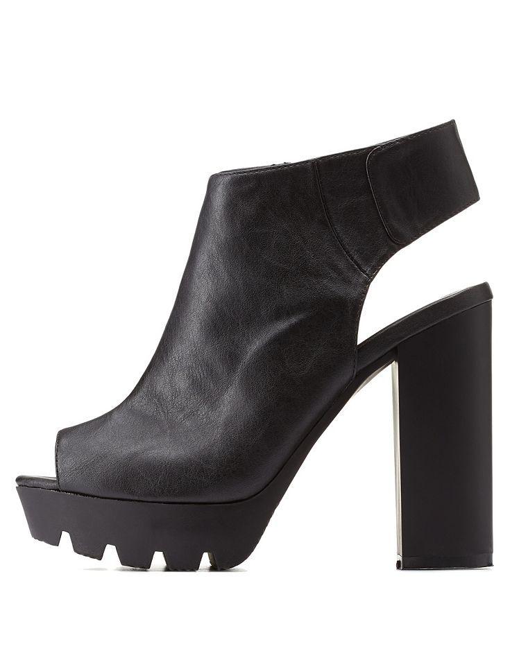 Black Qupid Peep Toe Slingback Lug Sole Heels by Qupid at Charlotte Russe
