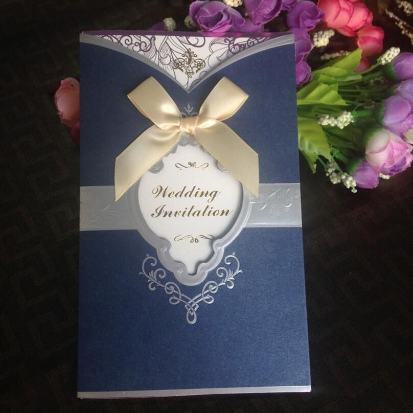 20pcs pack Wedding Invitation Luxury Bow Wedding Party Invitation Card  Blank Inner Sheet with Envelope Wedding Decor Supplies 045a355c3e31f