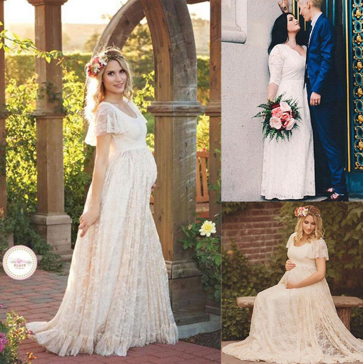 pregnant women lace long maxi gown photography photo shoot