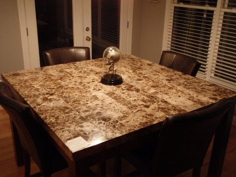 Granite Topped Gathering Height Table Counter Marble Top Dining Love It