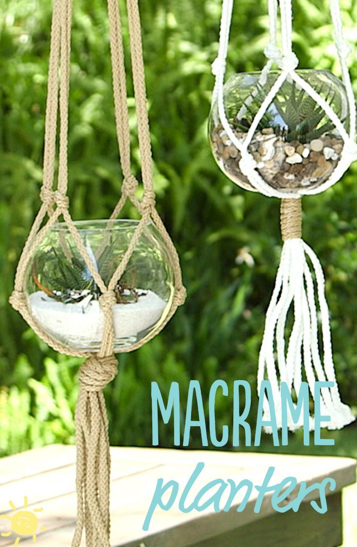 Diy 5 Minute Macrame Planters What S Up Moms Macrame Planter Macrame Macrame Diy