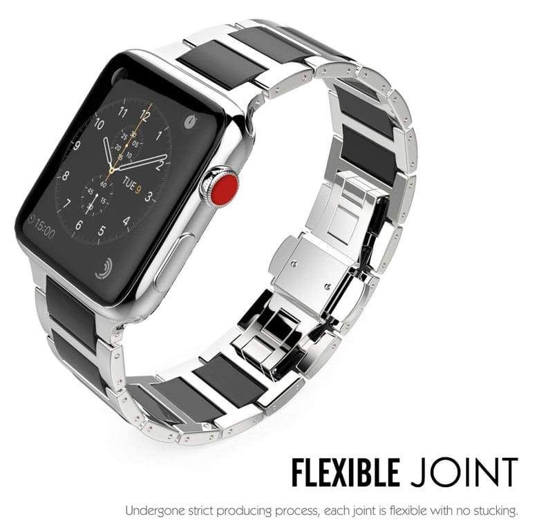 Apple Watch Series 5 4 3 2 Band, Ceramic Stainless Steel