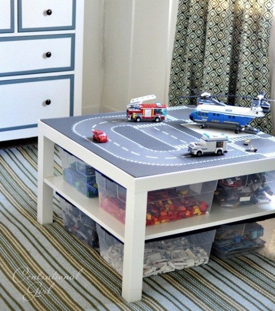 Lego Meets Lack U2013 Lego Table With Storage U2026 Sort Of A Diy But Looks Like It  Would Take All Of 5 Minutes To Put This Together (table From Ikea, Storage  Bins ...