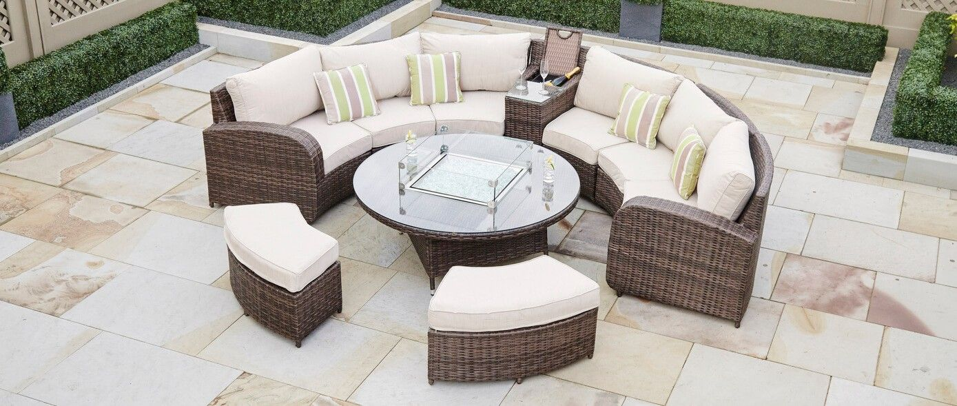ARC 11   Half Moon Rattan Sofa Set With Coffee Table Gas Fire Pit   The