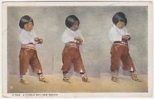 Isleta Pueblo Indian Boy w/ Apple,Isleta Pueblo,New Mexico,Fred Harvey,c.1920s