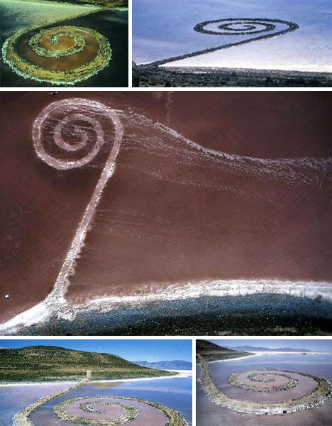 Wonderful Spiral Jetty By Robert Smithson. Earthwork Sculpture Created In 1970 In The  Great Salt Lake In Utah.