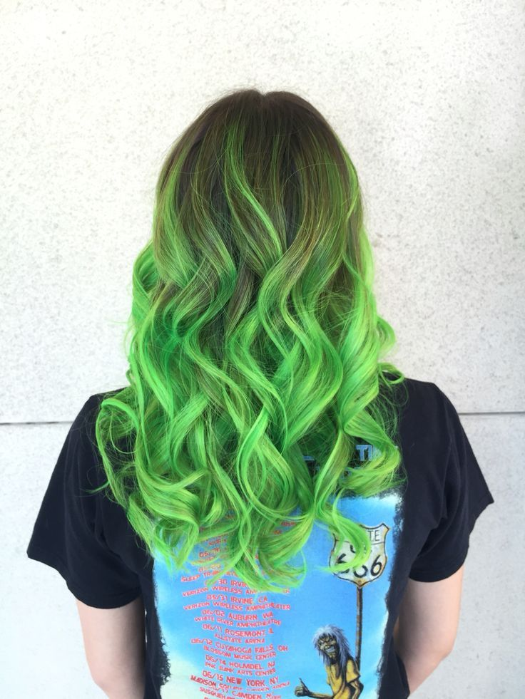 Neon Green Balayage Neon Green Hair Green Hair Neon Hair