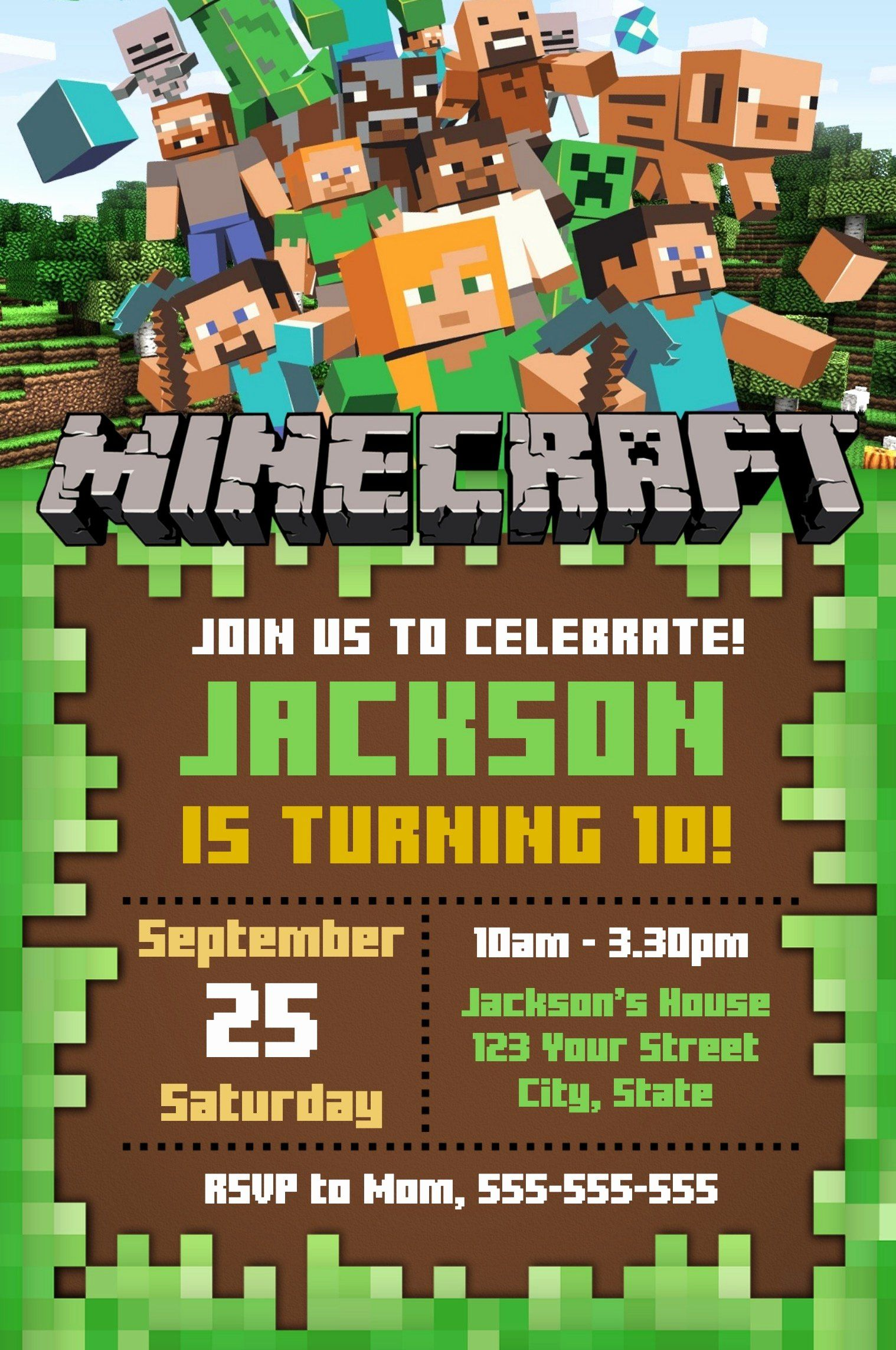35 Minecraft Birthday Invitation Template Free Em 2020 Convites Minecraft Aniversario Minecraft Minecraft