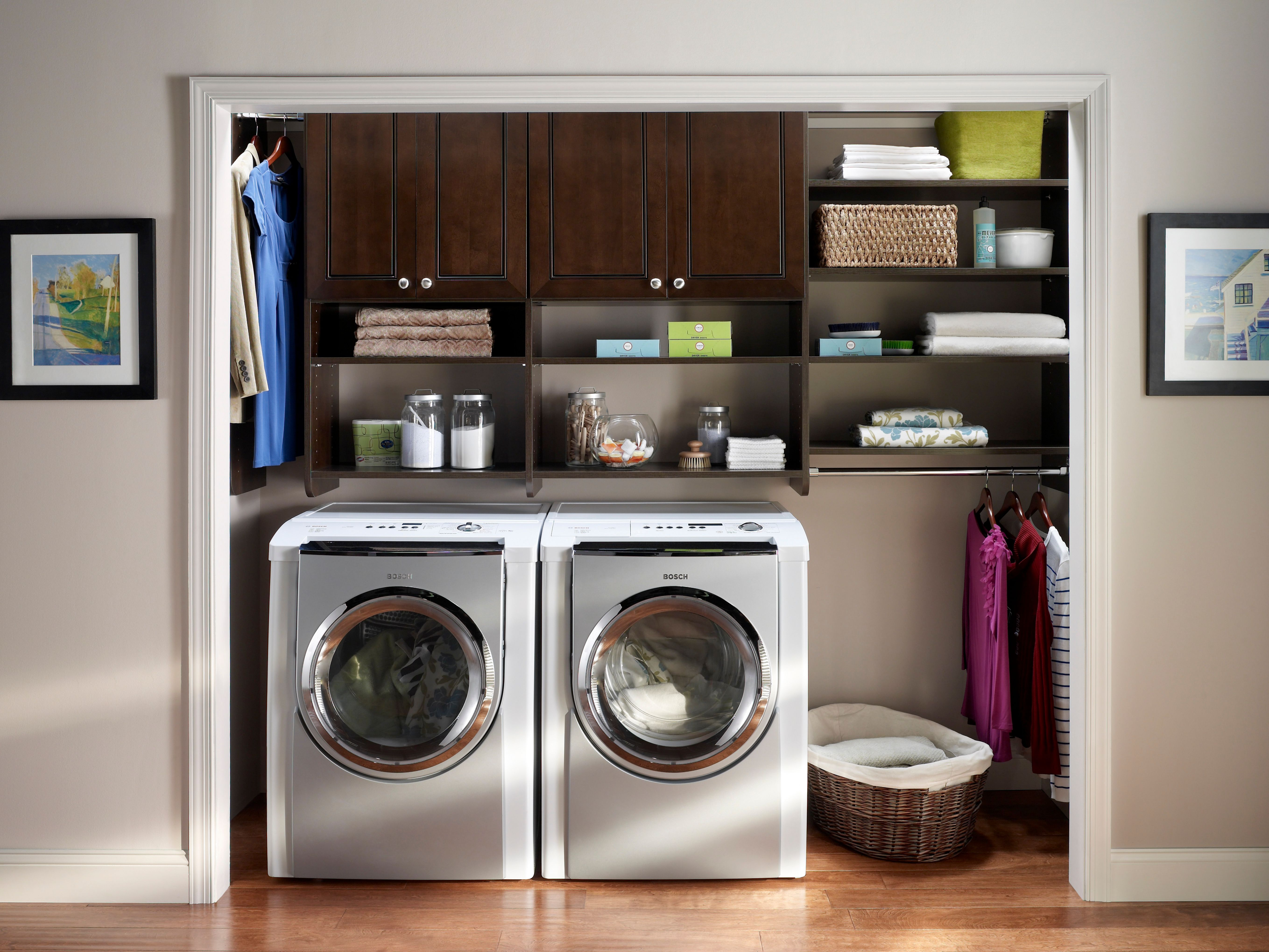 No Laundry Room No Worries Create Your Own Laundry Space With Mastersuite From Closetmaid Laundry Room Storage Small Laundry Space Laundry Room Closet