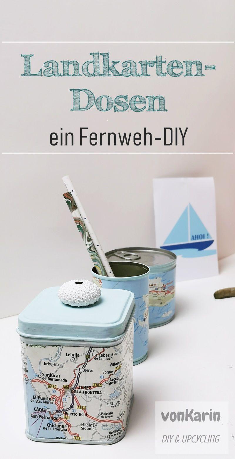 Landkartendosen - ein Fernweh-DIY