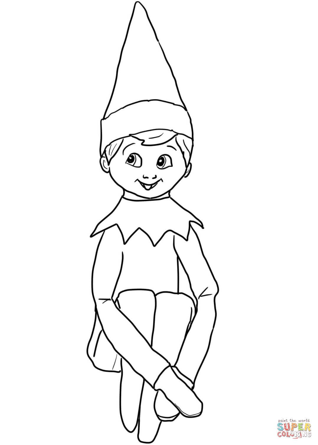christmas elf on shelf coloring page from elf on the shelf category