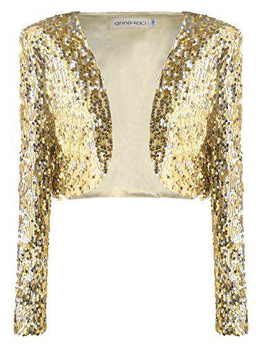 Womens Glitter Sequined Long Sleeve Cropped Open Front Bolero Shrug Coat Jacket