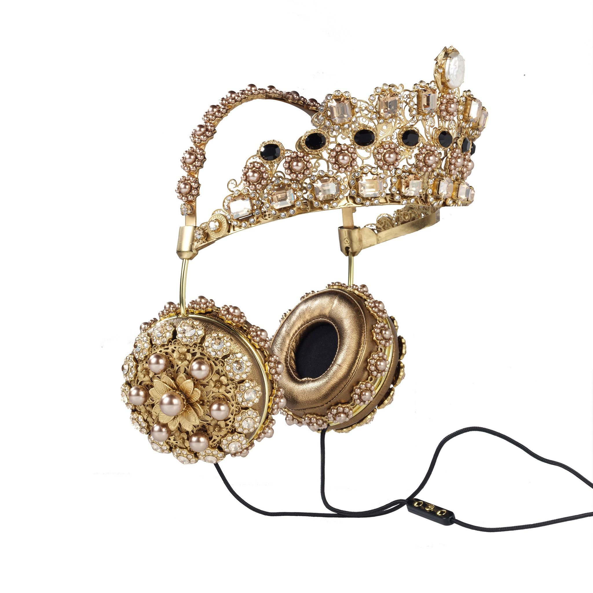 @betsyawebb aren't these incredible???  FRENDS x Dolce & Gabbana, Embellished Leather Headphones with Gold Cro – FRENDS Headphones