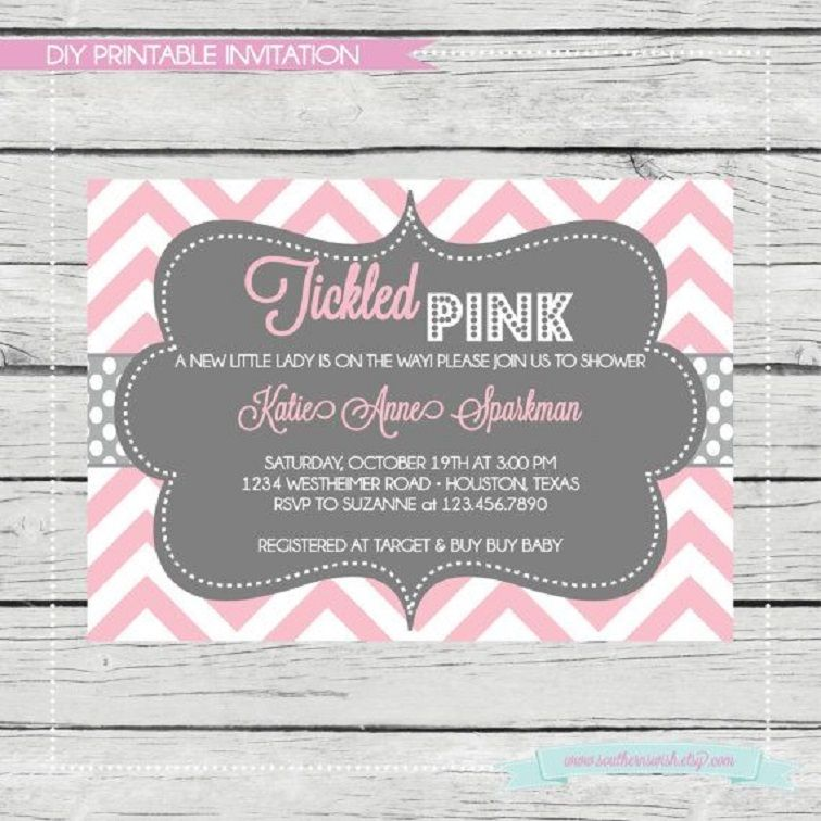 Pink And Gray Chevron Baby Shower Invitations Party Invitation