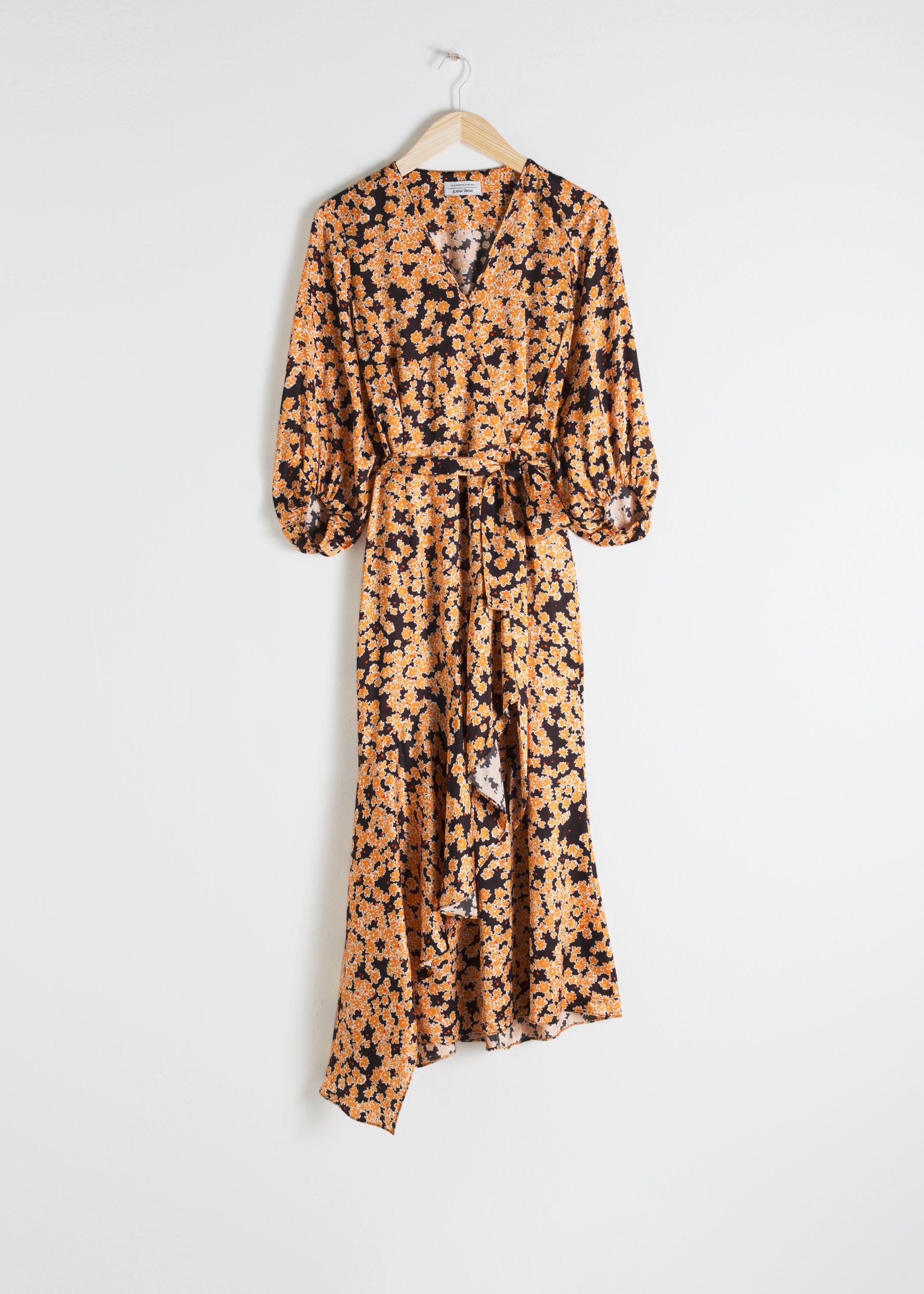 Asymmetric Floral Midi Dress