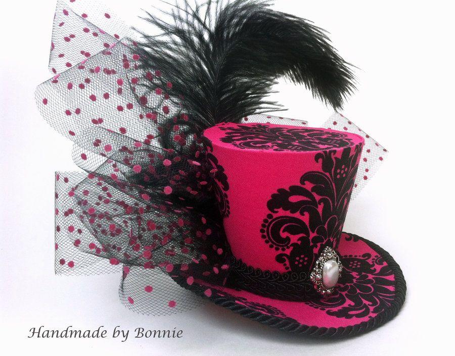 Pink velvet top hat fascinator