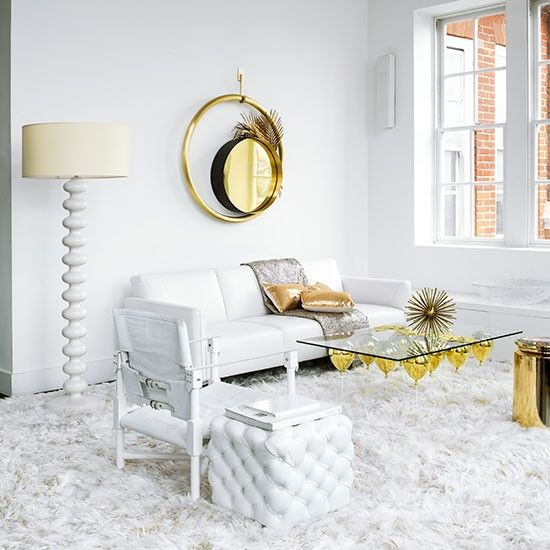 White And Gold Living Room Decorating Ideal Home Gold Living