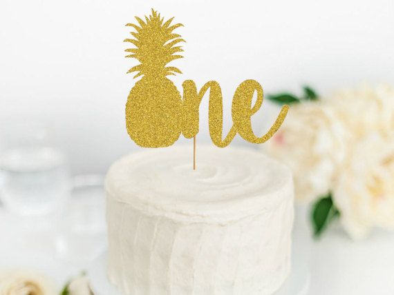 Pineapple One Cake Topper First Birthday Cake Topper Party Like