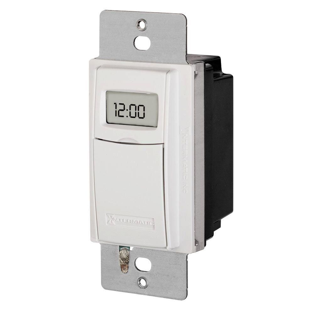 Intermatic 15 Amp 7 Day Indoor In Wall Astronomic Digital Timer White St01k Digital Timer Clock Home Depot