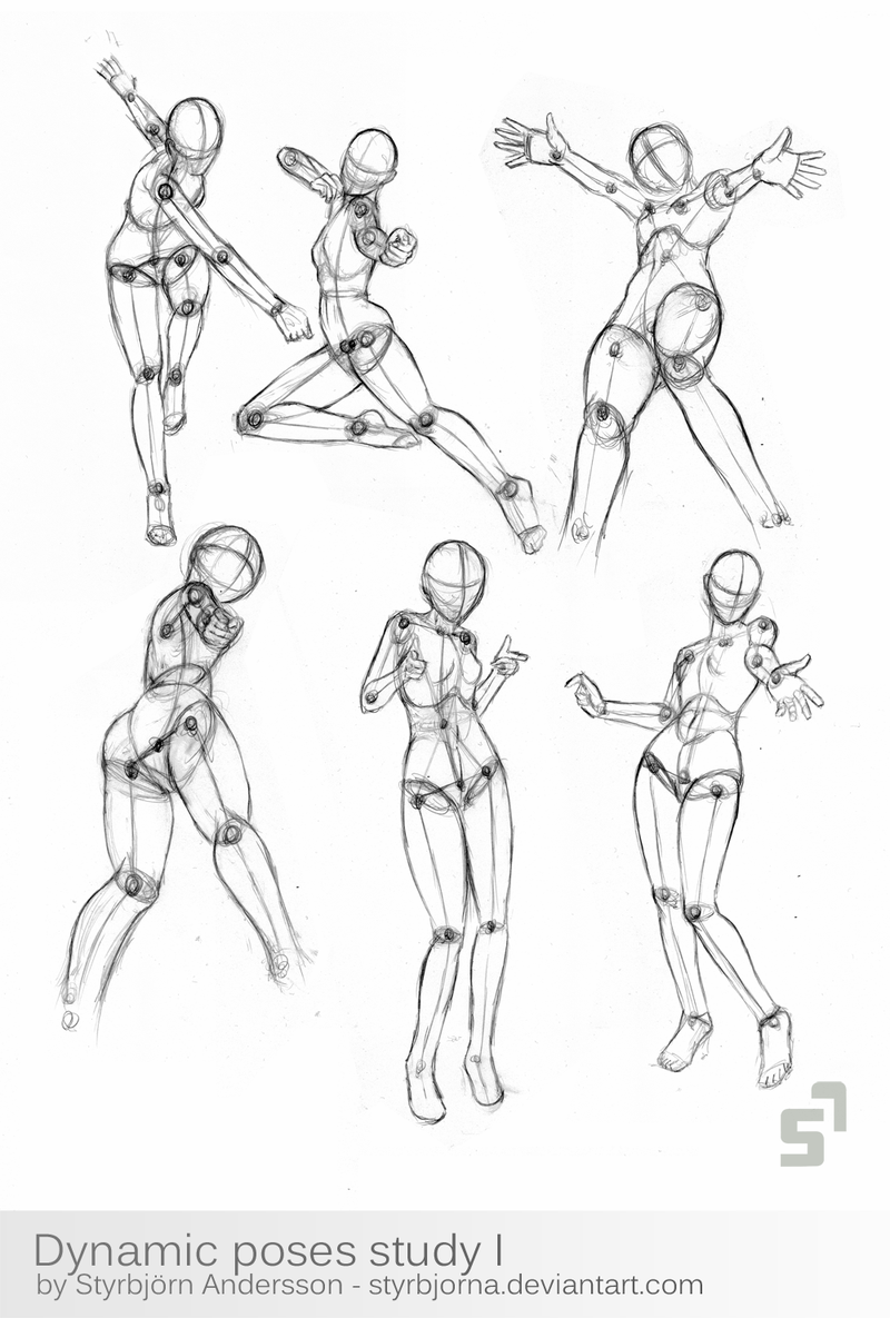 Super Character Design Poses Pdf : Dynamic poses study by styrbjorna viantart on