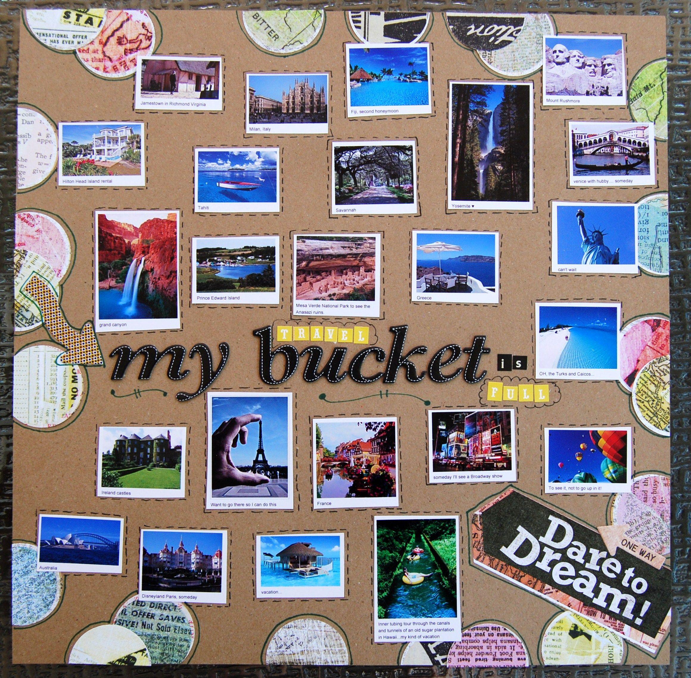 Scrapbook ideas list - Bucket List Scrapbook Page