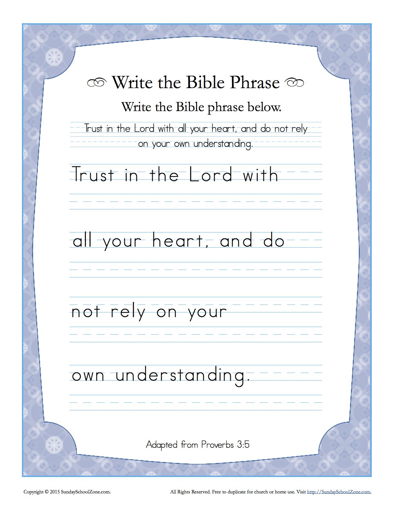 Proverbs 3 5 Write The Bible Phrase Worksheet