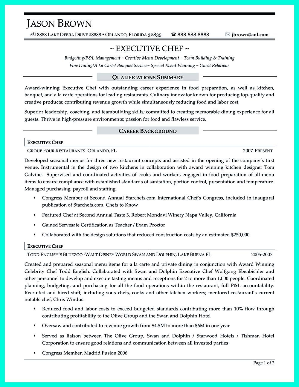 Chef Resumes That Will Impress Your Future Company Chef Resume Resume Writing Services Resume Examples