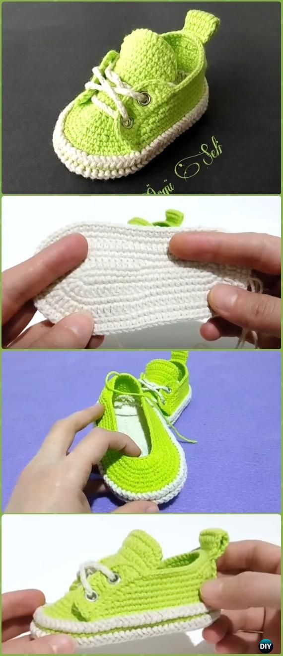 Crochet Classic Baby Sneakers Free Pattern Video - Zapatillas de ...