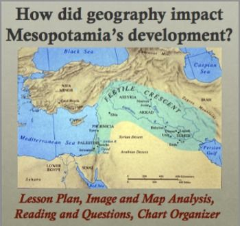 impact of geography on mesopotamia reading and image analysis  chart organizer middle east 6th Grade Social Studies Worksheets World Geography