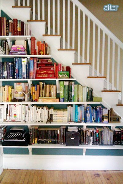 Turn The Side Of Your Staircase Into A Home For Your Books Creative Diy Bookshelf Ideas Staircase Bookshelf Unique Bookshelves Home Library