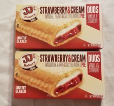 2 JJs Bakery Lightly Glazed Strawberries Cream Pies 4oz Yummy Fruit Pie Snack