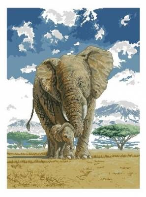 Elephants In The Savannah Counted Cross Stitch Kit-15.75x11.75 14 Count