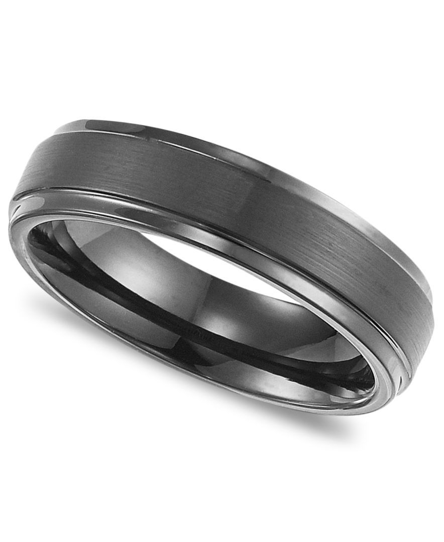 triton men's black tungsten carbide ring, comfort fit wedding band