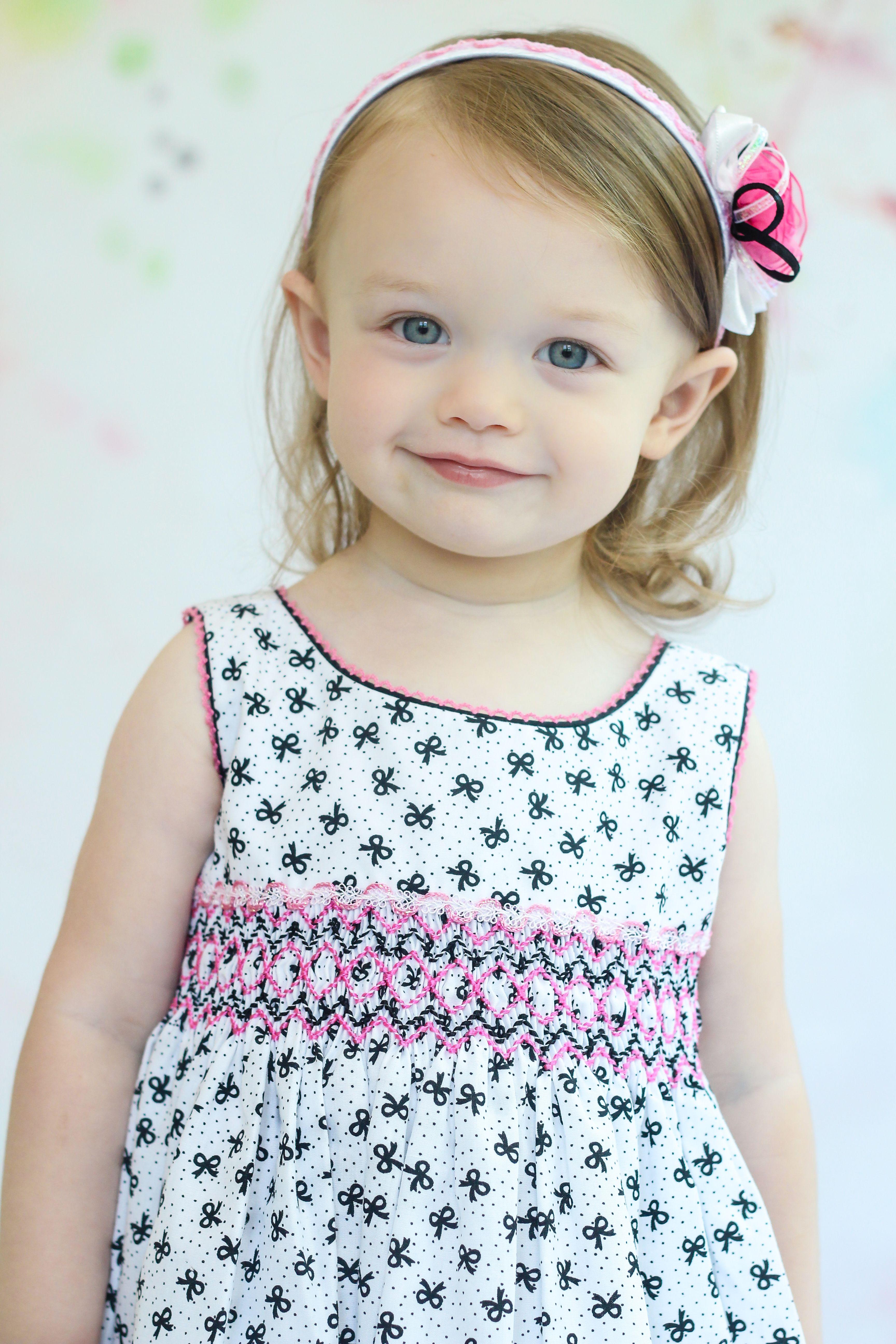 18c468f80ae655 Girls Pink Black White Hand Smocked Sleeveless Summer Dress   Young ...