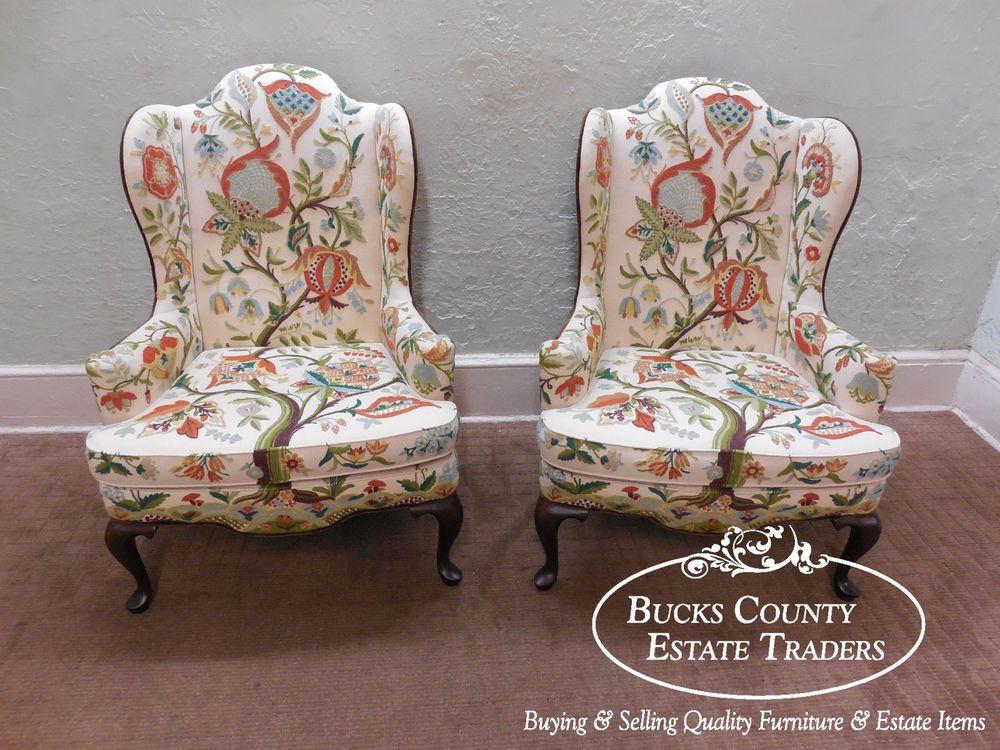 woodmark originals mary webb wood pair of crewel work wing chairs