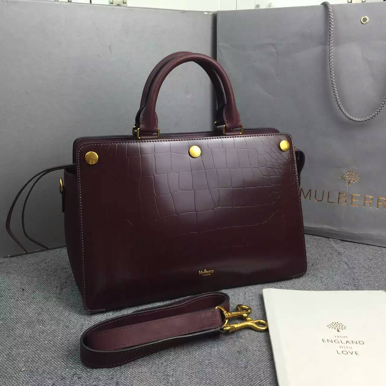 Larger Image Mulberry Bags 2017 Chester Oxblood Polished Embossed Croc