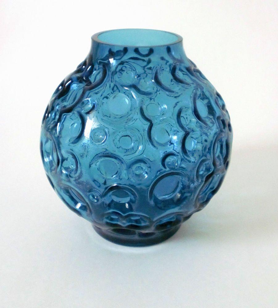 60s Pop Art Relief Kugel Glas Vase Hirschberg bubble glass annees 60